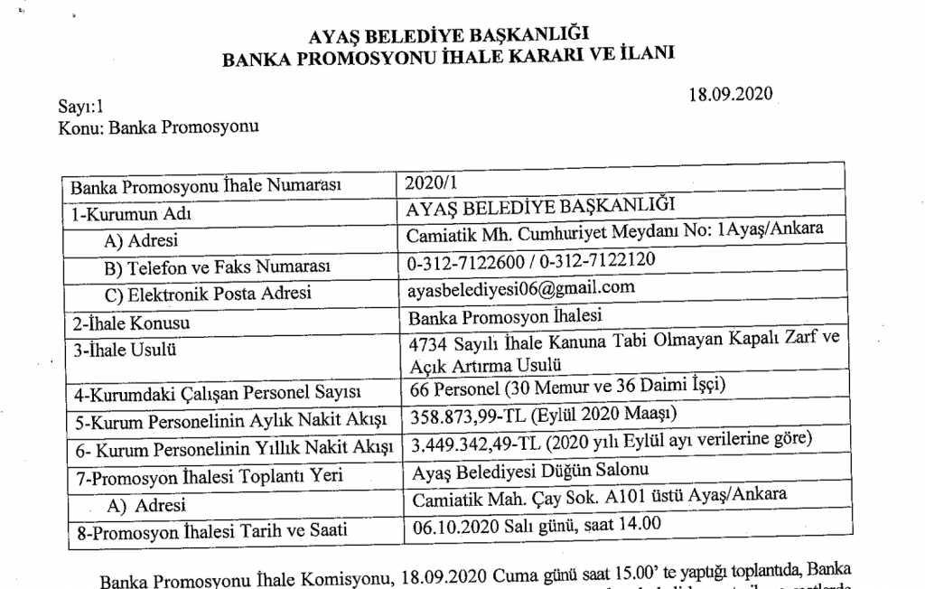 Ayaş Belediye Başkanlığı Banka Promosyonu İhale Kararı ve İlanı